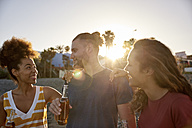 Three friends with beer bottles on the beach at sunset - PACF00033