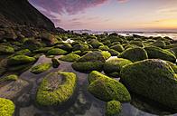 Spain, Galicia, Campelo beach at sunset in Valdovino - RAEF01897