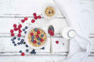 Bowl of granola with raspberries and blueberries - LVF06198