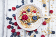 Spoon of granola with raspberry and blueberry, close-up - LVF06204