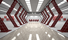 Futuristic room with five red swivel chairs, 3D Rendering - ALF00723
