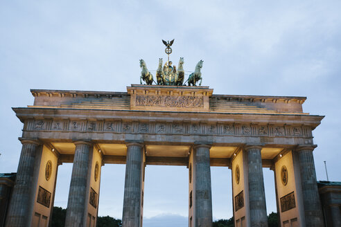 Germany, Berlin, lighted Brandenburg Gate in the evening - ZMF00486