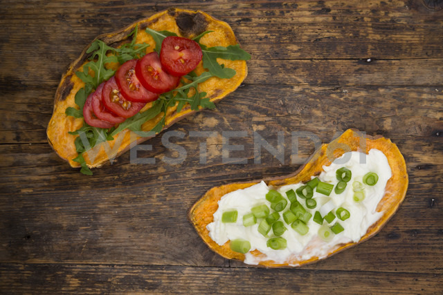 Toasted sweet potato slices garnished with various toppings - LVF06214