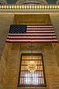 USA, New York, Manhattan, American Flag at Grand Central Station - MAU01147