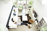 Relaxed woman at home listening to music - MAEF12304