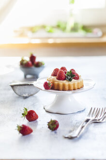 Tartlet with pudding filling and strawberries - SBDF03234