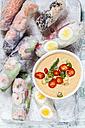 Vietnamese summer rolls with prawns and spicy peanut dip - SBDF03243