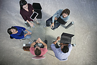Top view of casual businesspeople having a meeting - ZEF14094