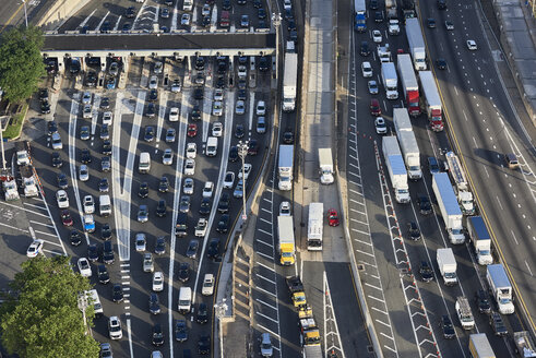 USA, New Jersey, rush hour traffic at Fort Lee in the morning, aerial view - BCDF00286