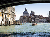 Italy, Venice, Canal Grande and Santa Maria della Salute church seen from boat - SBDF03248