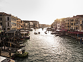 Italy, Venice, Canale Grande at evening twilight seen from Rialto Bridge - SBDF03251