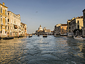 Italy, Venice, view to Canal Grande and Santa Maria della Salute church seen from boat - SBDF03257