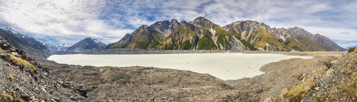 New Zealand, South Island, panoramic view of Tasman Valley with Aoraki Mount Cook and Tasman Lake - STSF01255