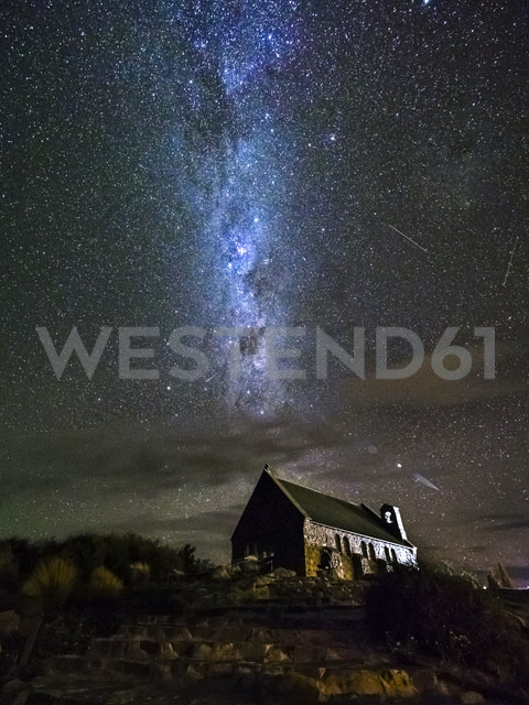 New Zealand, South Island, Canterbury Region, Church of the Good Shepherd at night - STSF01264