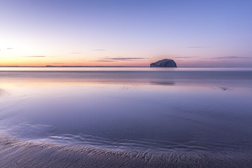 UK, Scotland, North Berwick, Firth of Forth, view of Bass Rock at sunset - SMAF00778