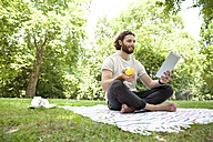 Man with apple sitting on blanket in a park using tablet - MFRF00927