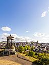 UK, Scotland, Edinburgh, Calton Hill, Dugald Stewart Monument, cityscape - WDF04059