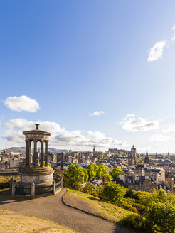 UK, Scotland, Edinburgh, Calton Hill, Dugald Stewart Monument, cityscape - WDF04059