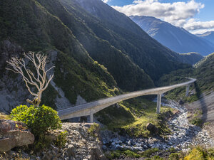 New Zealand, South Island, Canterbury Region, Arthur's Pass National Park, bridge at Arthur's Pass - STSF01278