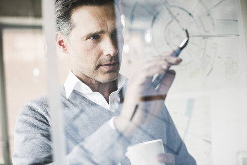 Portrait of architect checking construction plan on glass pane in office - UUF11240