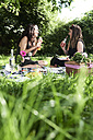 Friends having a picnic in summer, talking and drinking fresh juices - IGGF00036