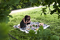 Friends having a picnic in summer, talking and looking at smartphone - IGGF00042