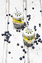 Two glasses of infused water with lemon slices, blueberries and mint - LVF06255