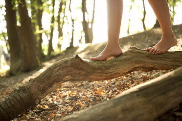 Close-up of feet of a woman in forest balancing on a log - MFRF00957
