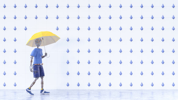 Robot with yellow umbrella walking in the rain - AHUF00413