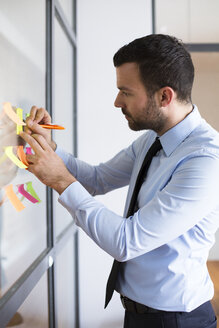 Businessman in office writing on adhesive note on glass wall - FKF02481