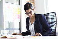 Smiling businesswoman at desk in office - FKF02487