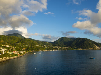 Caribbean, Antilles, Dominica, Roseau, View of the city at dusk - AMF05414