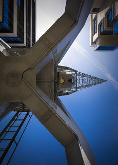 Germany, Hamburg, harbour crane at Hafencity seen from below - MPAF00113