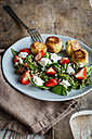 Plate of spinach salad with falafel, goat cheese, strawberries and sunflower seed - EVGF03260