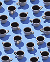 Coffee cups on light blue ground, 3D Rendering - DRBF00008