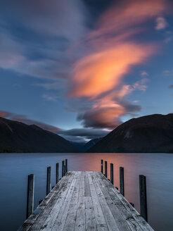 New Zealand, South Island, Saint Arnaud, sunset at Lake Rotoiti - STSF01297