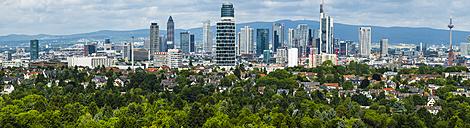 Germany, Frankfurt, skyline of financial district - AMF05443