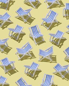 Beach chairs on yellow ground, 3D Rendering - DRBF00024