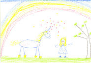 Child's drawing of unicorn and girl on paper - CMF00704