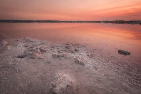Spain, Alicante, Salinas de Torrevieja, Sunset over pink lake - DHCF00142