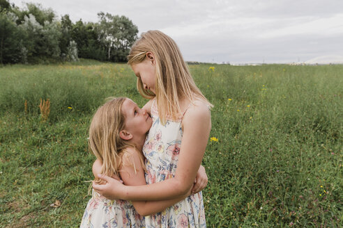 Two little sisters hugging each other on a meadow - NMSF00149
