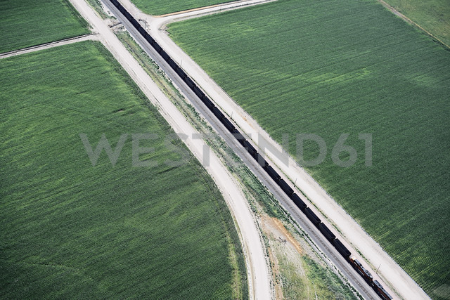 USA, Aerial of canal and farm roads dividing fields in Western Nebraska - BCDF00307
