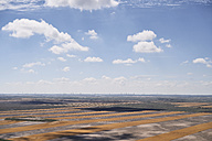 USA, Aerial photograph of contour farming after harvest in Western Nebraska - BCDF00319