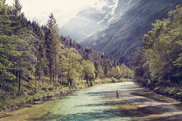 Slovenia, man fly fishing in Soca river - BMAF00344