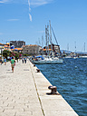 Croatia, Sibenik, Adria coast, waterfront promenade with sailing boats - AMF05468