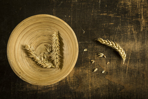 Wheat ears and grains on wooden bowl and wood - MAEF12394