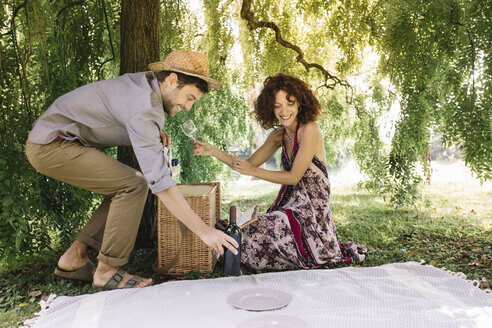 Couple preparing a picnic in a park - ALBF00164