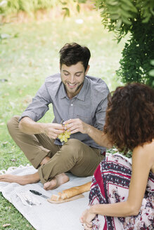Happy couple having a picnic in a park - ALBF00173