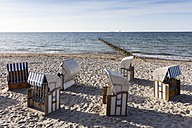 Germany, Mecklenburg-Vorpommern, Nienhagen, beach chairs on the beach - WIF03424