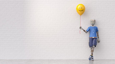 Robot holding smiley balloon, 3d rendering - AHUF00421